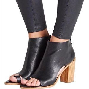 Loeffler Randall Black Peep Toe Leather Booties